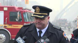 Firefighters discuss challenges in fighting Yonge/St. Clair blaze
