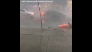 Severe storm hits Montreal sends debris flying through the air