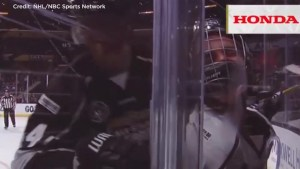 Justin Bieber gets bodychecked during NHL's all star celebrity game