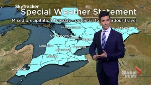 Toronto and parts of Southern Ontario expected to receive snow and freezing rain Tuesday