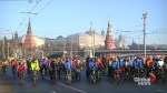 Russian bike enthusiasts race through Moscow despite biting cold
