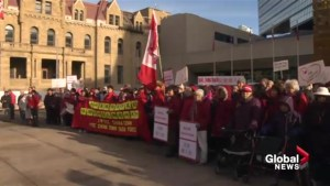 Protesters rally at Calgary City Hall ahead of Monday's vote on Chinatown development