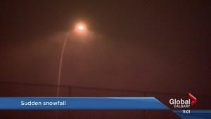 Sudden snowfall hits Calgary