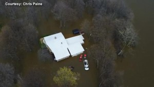 Drone video shows extent of flooding outside of Montreal