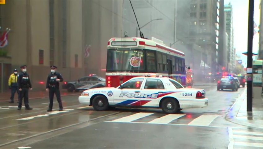Blasts, smoke in heart of Toronto financial district