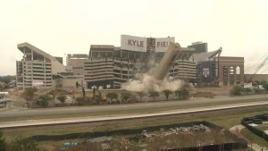Footage of U.S. college football stadium controlled implosion