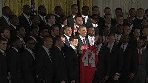 College football player photobombs President Obama during White House visit
