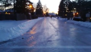 Ice skating on a Dollard-des-Ormeaux street