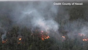 Aerial footage shows lava flow near Pahoa, Hawaii