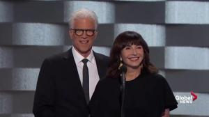 Mary Steenburgen recalls history with Hillary Clinton as she and Ted Danson speak at the DNC