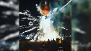 Spectators flee Tazaungdaing Festival in Myanmar as hot air balloon catches fire