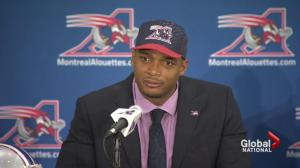 Michael Sam arrives in Montreal to join Allouettes