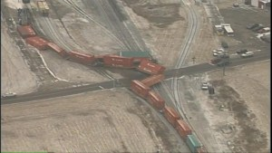 Aerial video of train derailment in Ohio