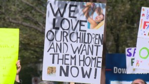 Rallyists in Calgary demand accountability from child protective services.