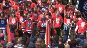 Raffi Torres and Fernando Pisani thank Edmonton Oilers fans