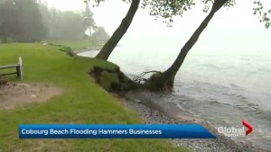 Cobourg beach disappears due to high Lake Ontario water levels