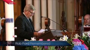 Former Ontario Premier Mike Harris speaks at the funeral of Rob Ford