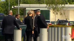 Theresa May arrives at Manchester police HQ for full briefing