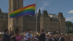 Justin Trudeau raises Pride flag on Parliament Hill
