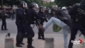 French protesters clash with riot police in intense standoff