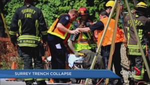 Worker rescued from Surrey trench collapse