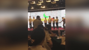 Chinese bank staff beaten by trainer during training session