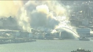 Footage of massive fire at Brooklyn, NY at storage facility