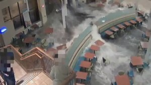 Dramatic flash flood waters burst into Nebraska hospital
