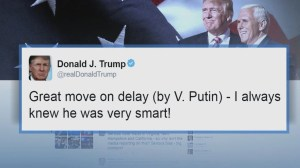Donald Trump praises Vladimir Putin in tweet on delaying retaliation over sanctions
