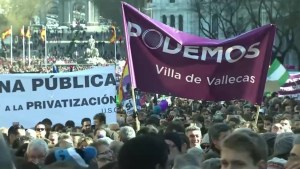 Footage of thousands rally in support of Spain's new far left party