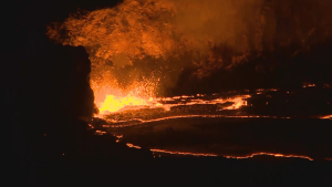 Lava lake overflows from Kilauea Volcano for first time in about a century