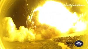 Antares rocket explosion from the launch pad
