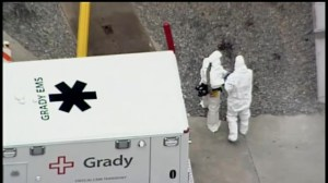 Raw video: Aerial footage of Ebola patient arriving in U.S. hospital