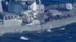 U.S. Navy destroyer heavily damaged after collision with merchant ship