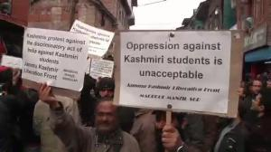 Protests in Kashmir over removal of students from university for cheering for Pakistan