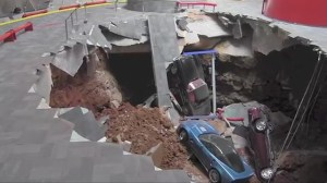 Sinkhole swallows up 8 cars in Corvette museum