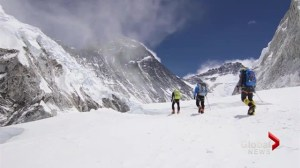 Father, son trek to the top of Mount Everest