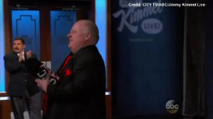 Rob Ford makes grand entrance for appearance on Jimmy Kimmel
