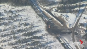 Derailed train continues to burn in New Brunswick