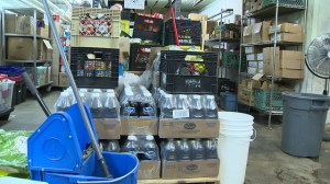Damaged food, medical and clothing supplies at Siloam Mission