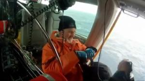 Raw video: Man rescued from yacht following aborted solo-sailing expedition