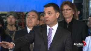 "PC Leader Tim Hudak was touting his ""million jobs plan"" as he campaigned in Mississauga."