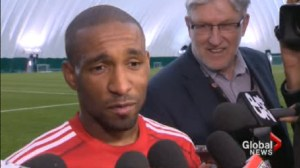 Jermain Defoe steps on the pitch for the first time as a member of Toronto FC