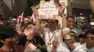 Thailand anti-government protest, leader collects donations, scene of small explosion