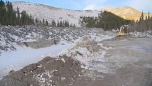 Exshaw flood protection under construction