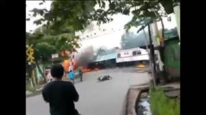 Raw video: Train collides with fuel truck in Indonesia