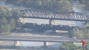 On scene: Train bridge in Calgary in danger of collapsing