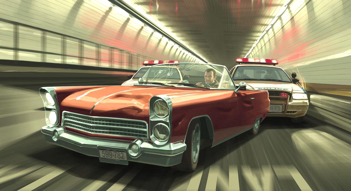 Police Cop Car Live Wallpaper Grand Theft Auto Iv Artwork Official Art Illustrations