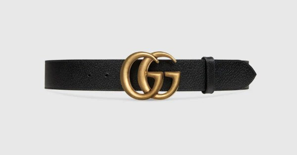 Leather Belt With Double G Buckle Gucci Men39s Belts