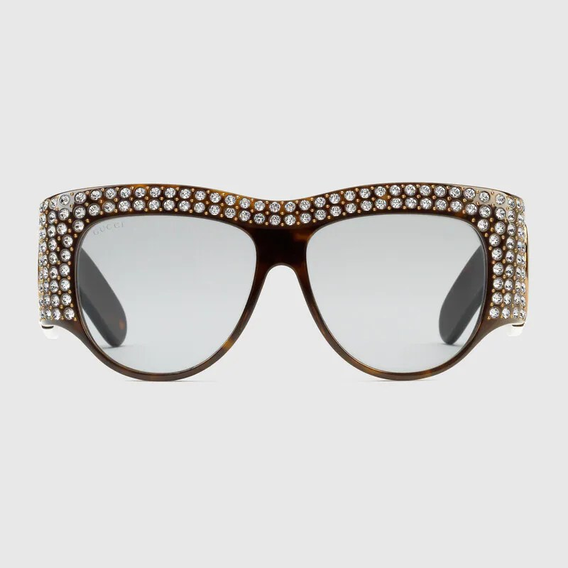 Oversize acetate sunglasses with crystals in Tortoiseshell acetate
